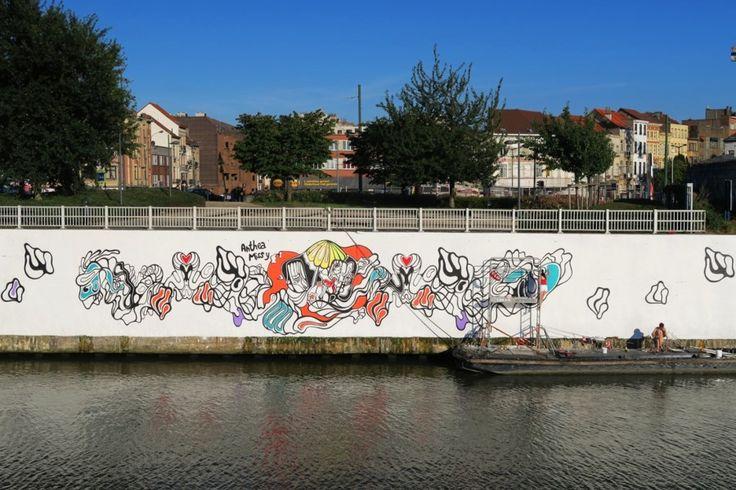 IN BEELD. Brussels kanaal opnieuw stukje minder grijs - De Standaard: http://www.standaard.be/cnt/dmf20160823_02435863