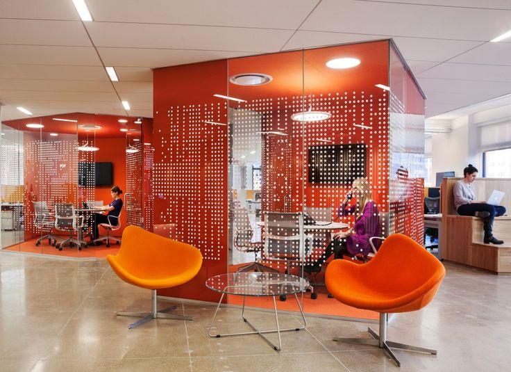 Love the orange! Pandora Media Inc. New York Office / ABA Studio #officespace #tenants