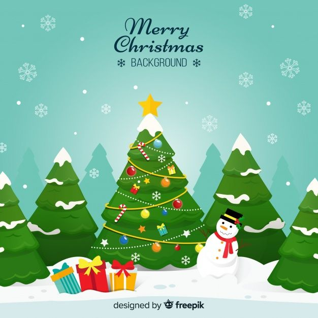 Christmas Tree Snowman Ilustration Background Free Vector In 2020 Happy Christmas Day Merry Christmas Background Merry Christmas Happy Holidays