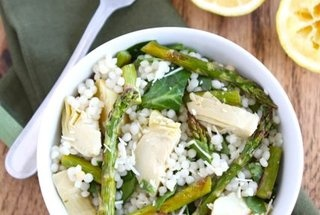 Israeli Couscous Salad with Roasted Asparagus, Artichokes, & Spinach