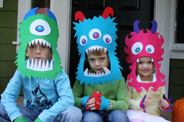 Monster headbands made from cereal boxes.  Sweet!