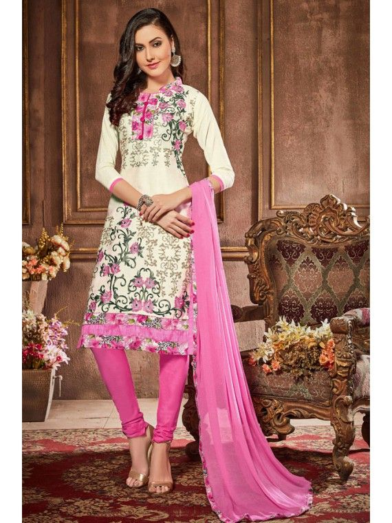 Voguish Off White and Pink Salwar Kameez