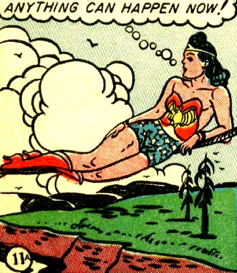 Wonder Woman lounging like an odalisque on a highwire. —Wonder Woman #7 (1943) by William Moulton Marston & H.G. Peter