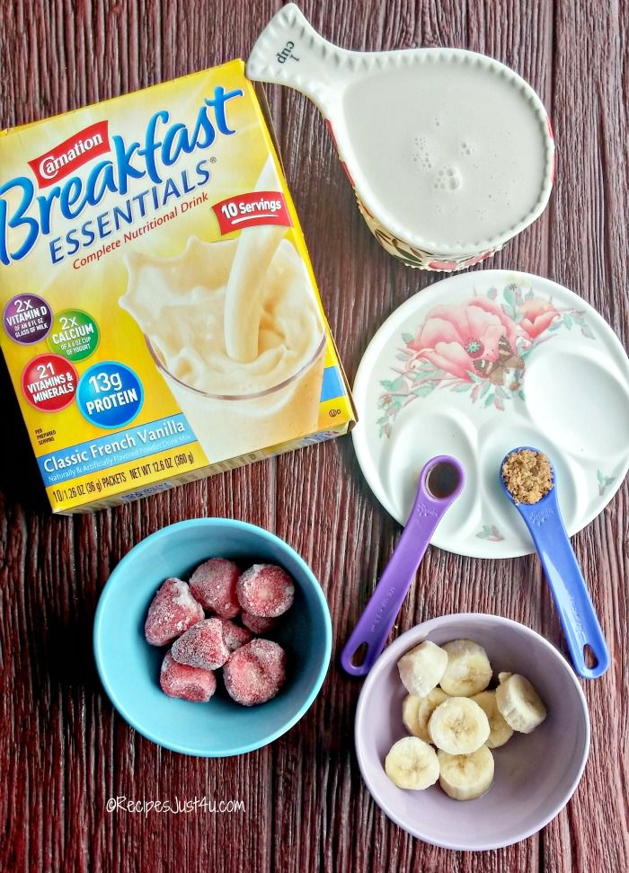 Ingredients for the Carnation Breakfast Essentials® strawberry banana smoothie