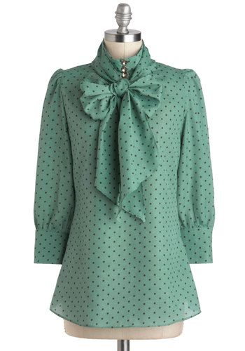 Print Journalist Top in Wintergreen, #ModCloth