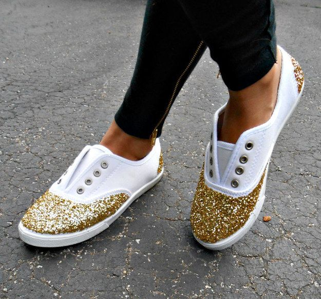 Add glitter to the toes and heels of your sneakers for a little sparkly kick.