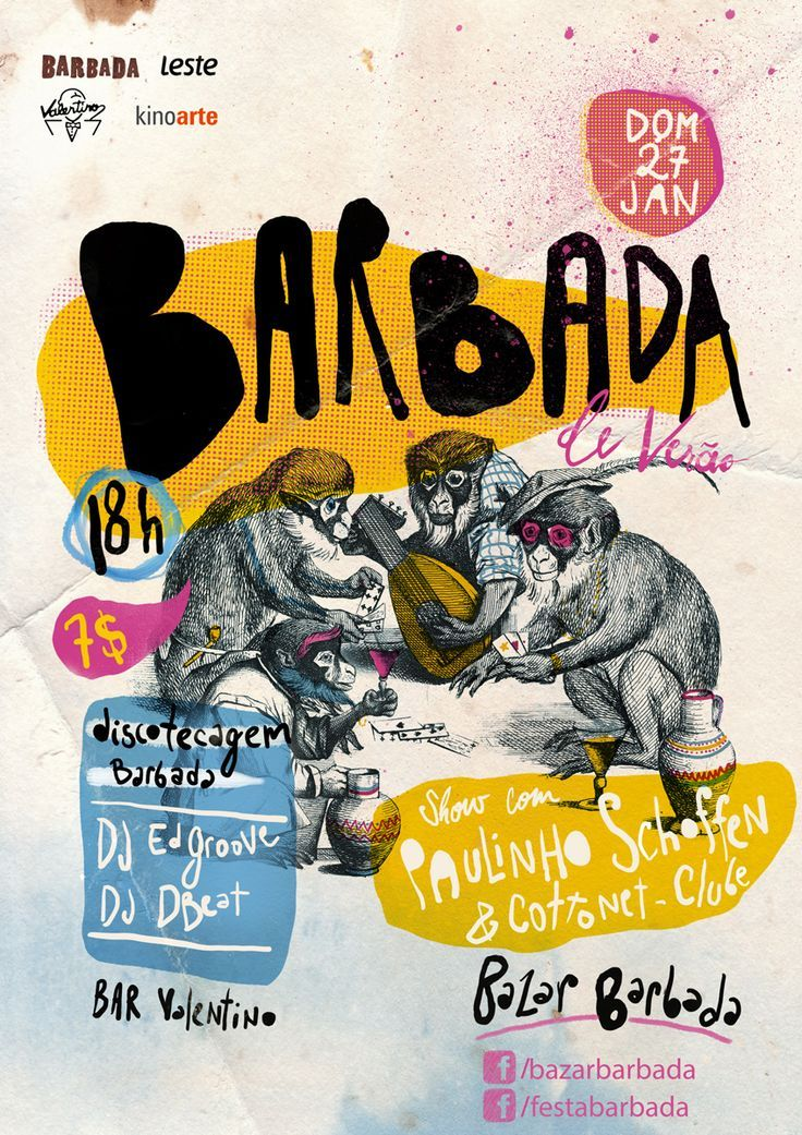 BARBADA is an event that happens in Brazil. It's focused on contemporary music and features performances by local and national bands and DJs. Both the event and the design of the posters intend to carry the rich brazilian culture. event