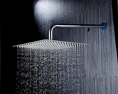 Eyekepper 8'' Stainless Steel Shower Head Rain Style Showerhead Elegantly Designed8-inch Diameter Ultra Thin teflon tape Brushed Nickel