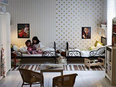 shared room via Joanna Goddard: Kids Bedrooms, Polka Dots, Beds, Shared Kids Rooms, Shared Rooms, Shared Bedrooms, Bedrooms Ideas, Girls Rooms, Ikea