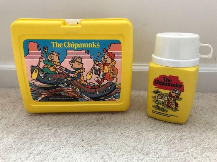Vintage The Chipmunks 1984 Yellow Plastic Lunch Box