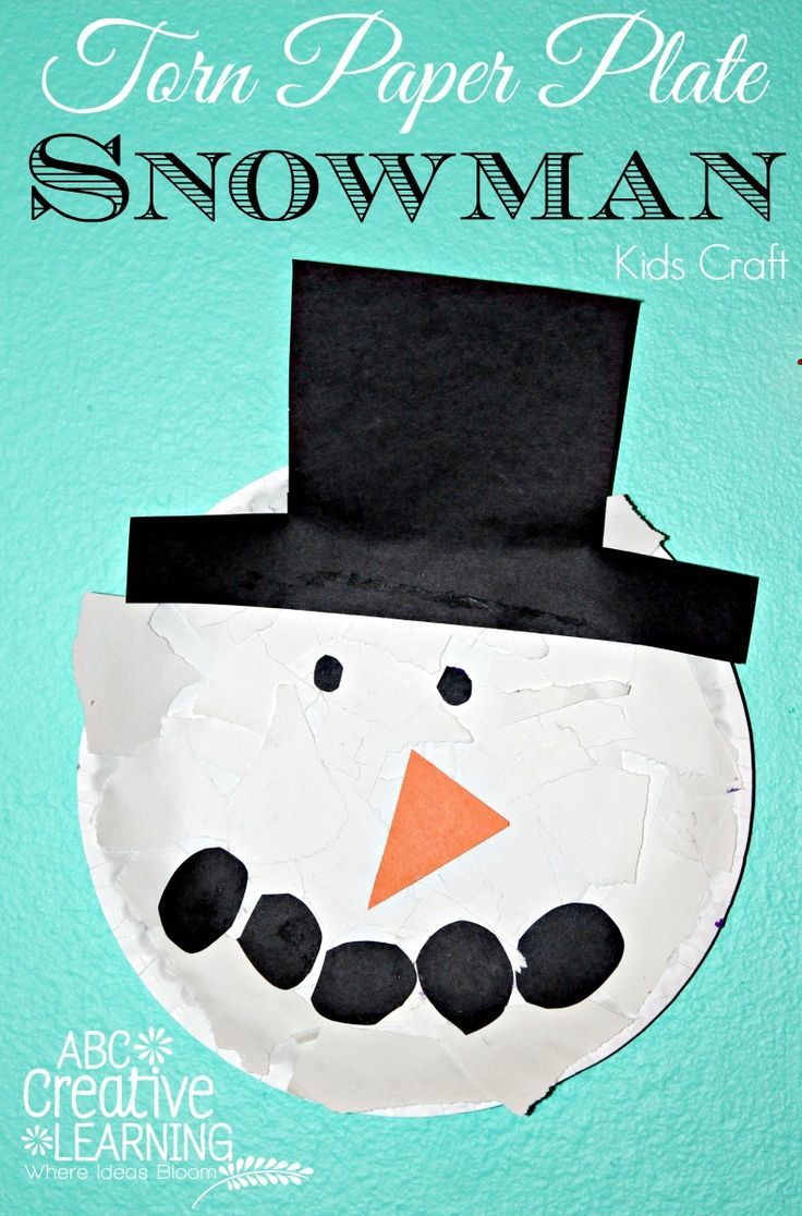 Torn Paper Plate Snowman Kids Craft perfect for Toddler Fine Motor Skills Activity! by Victoria from ABC Creative Learning