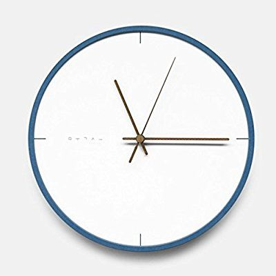 mooqs(ムクス) Forescolor Modern Interior Simple Silent/No Ticking Wooden Wall Clock 無騒音 連続秒針 インテリア 掛け時計 simple blue line