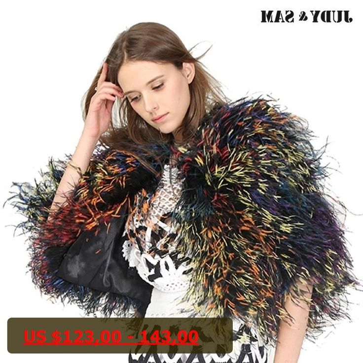 Real Ostrich Feather Women Shawl Colorful Female Cape Winter Solid Real Fur Luxury Girls Outwear For Party Best Gift
