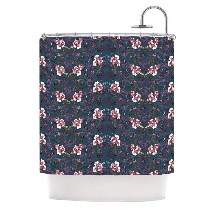 """Kess InHouse Dlkg Design """"Cool Stitch"""" Purple Navy Shower Curtain"""
