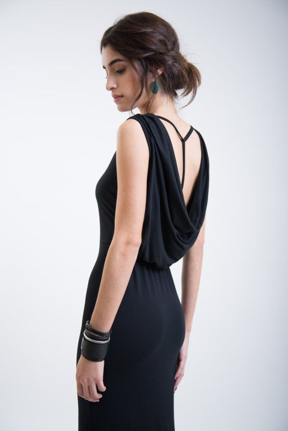 Black Casual Dress / Party Dress / Cowl Back Dress by marcellamoda