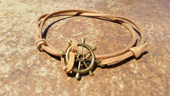 Brown Leather Bronze Rudder Bracelet Anklet by HannaschCrafts