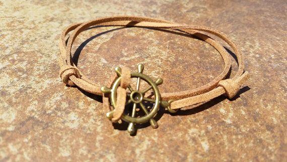 Brown Leather Bronze Rudder Bracelet Anklet by HannaschCrafts