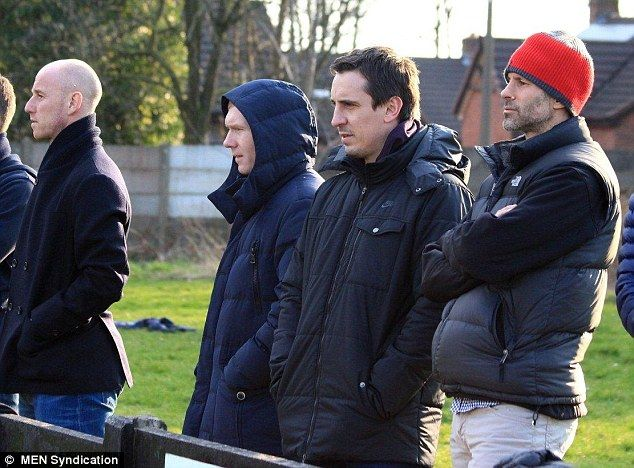 Nicky Butt, Paul Scholes, Gary Neville & Ryan Giggs at Salford City FC's Moor Lane - March 2014