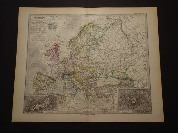 EUROPE old map of Europe 1886 beautiful large by VintageOldMaps