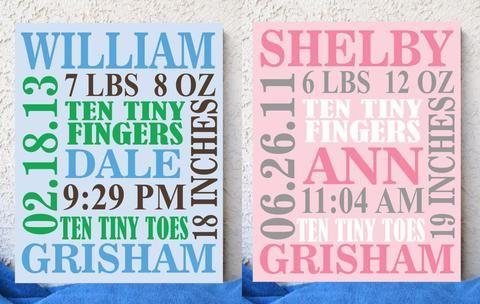 birth announcement canvas