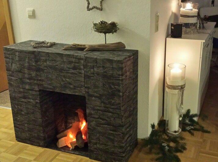 da bin ich stolz drauf kamin aus karton und tapete weihnachtszauber pinterest. Black Bedroom Furniture Sets. Home Design Ideas