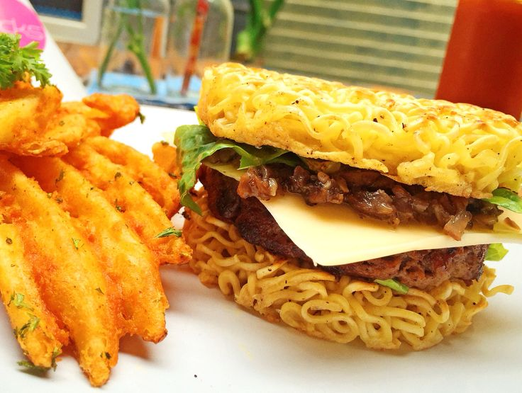 Noodle cheese burger with mushroom. And don't forget the waffle fries to make it perfect!