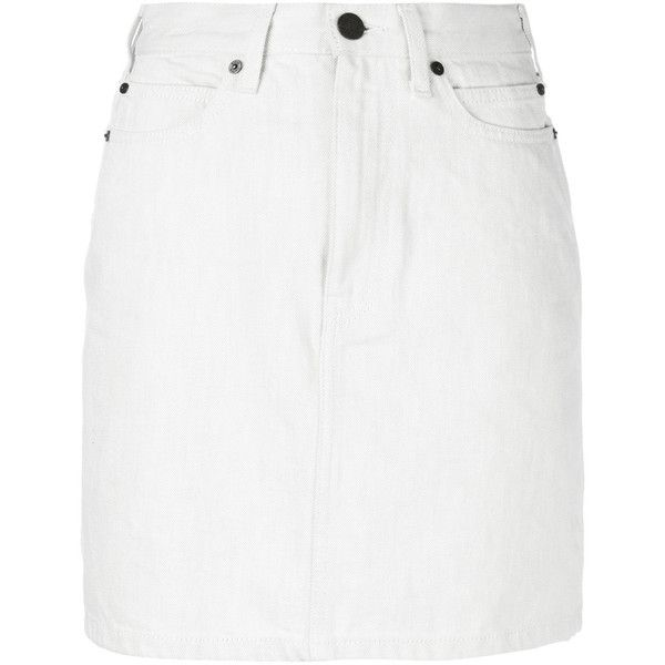 5e3c3212af Calvin Klein 205w39nyc Denim Skirt (6,360 EGP) ❤ liked on Polyvore  featuring skirts, mini skirts, white, denim skirt, white denim skirt, patch  skirt, ...