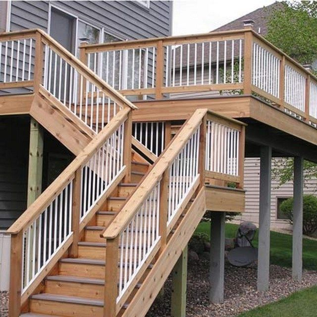 Second Floor Deck With Screened In Porch Design And Stairs