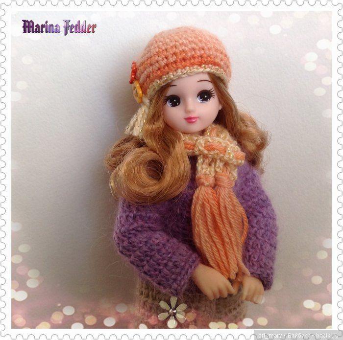 Шапка и шарфик на полке скучали / Шапочки для кукол. Выкройки и схемы вязания / Бэйбики. Куклы фото. Одежда для кукол
