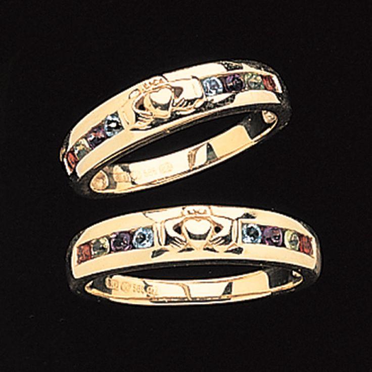 Eire S Symbolic Heart Hands And Crown Unite Genuine Amethyst Blue Topaz Garnet Wedding Bandscladdagh