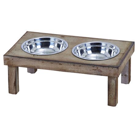 Handmade pet diner with 2 steel bowls and a weathered wood stand. Product: Pet dinerConstruction Material: Wood ...