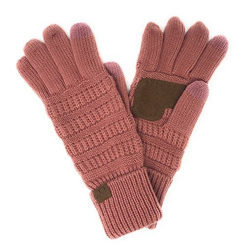 BYSUMMER C.C. Smart Touch Winter Warm Knit Touchscreen Texting Gloves (Mauve)