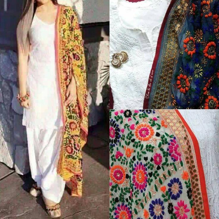"37 Likes, 10 Comments - zahra's pretline (@zahra_pretline) on Instagram: ""Indian Pulkari Dupatta: Rs.3500/- Complete Unstitched: Rs.5500/- Complete Stitched: Rs.7000/-"""