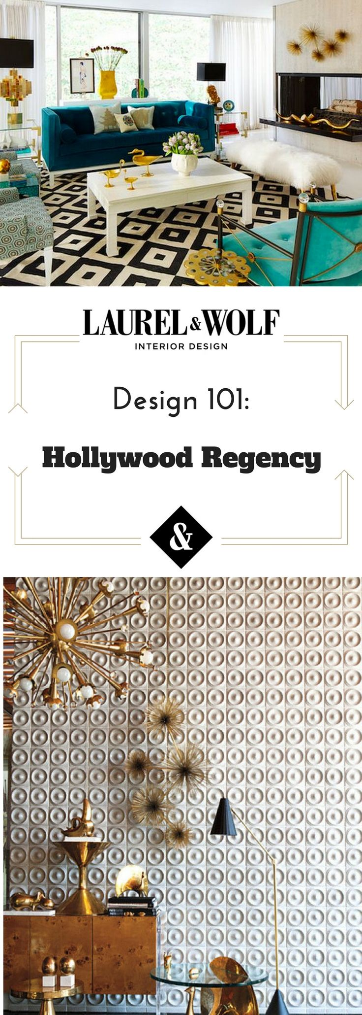 What is Hollywood Regency design? Learn all about this decadent, glamorous style's history and how to bring all of its pattern, lacquer, and gold glamour into your home.