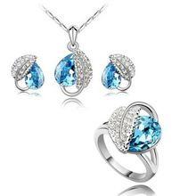 2 Colors Silver zlato ve tvaru náhrdelník Ring náušnice Ženy módní svatební šperky Sady B22 + A09 + C17 (Čína (pevninská část))