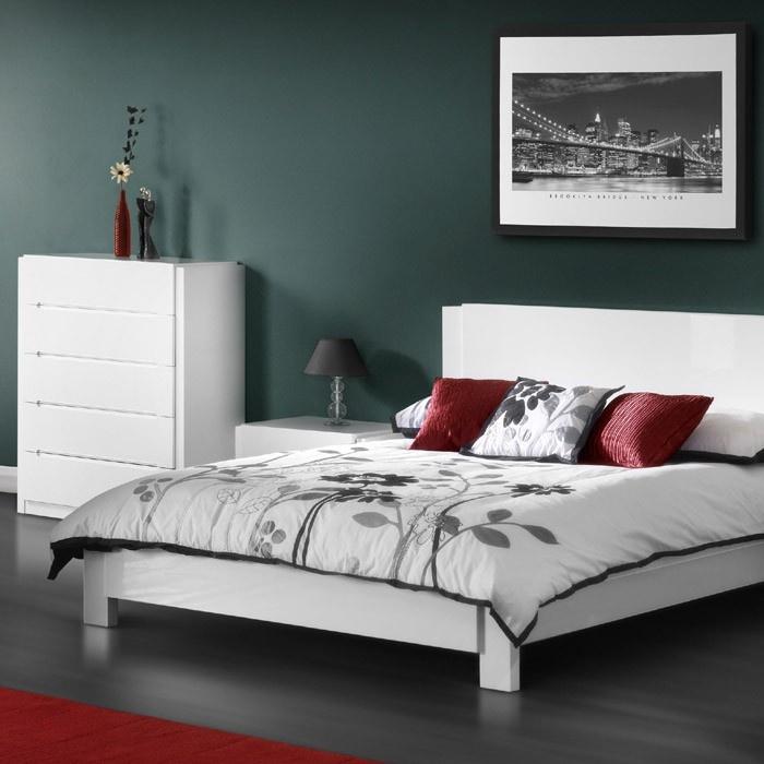 Julian Bowen Dakota Minimalist Bedroom Furniture With Charcoal Gray Dark Red White And Dark