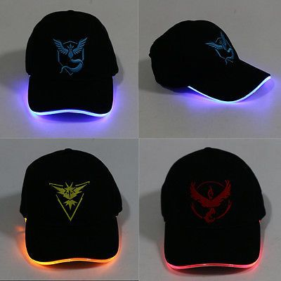 New LED Light Pokemon Go Cap Hat Team Valor Team Instinct Pokemon Cap Hat | eBay