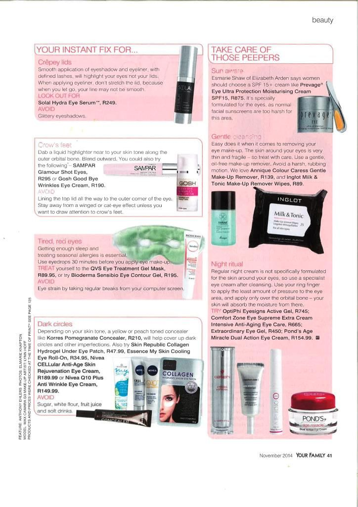 Our Colour Caress Gentle Make-up Remover is featured in the November-2014 issue of Your Family magazine