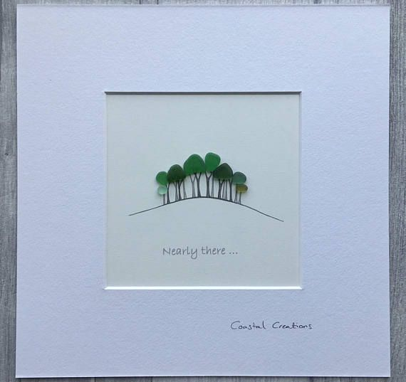 Sea Glass Art Nearly There Home Trees Cookworthy Knapp A30 Trees Cornwall Original Artwork 10x10 Inch Frame Sea Glass Art Sea Glass Beach Glass Art