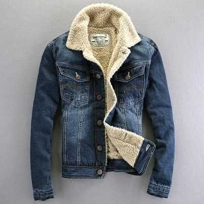 64.92$  Buy now - http://alip0h.worldwells.pw/go.php?t=32771262138 - New 2017 Spring Winter Coat For Men Turndown Collar Mens Denim Jackets And Coats Single Breasted Fleece Plus Coat A4591 64.92$
