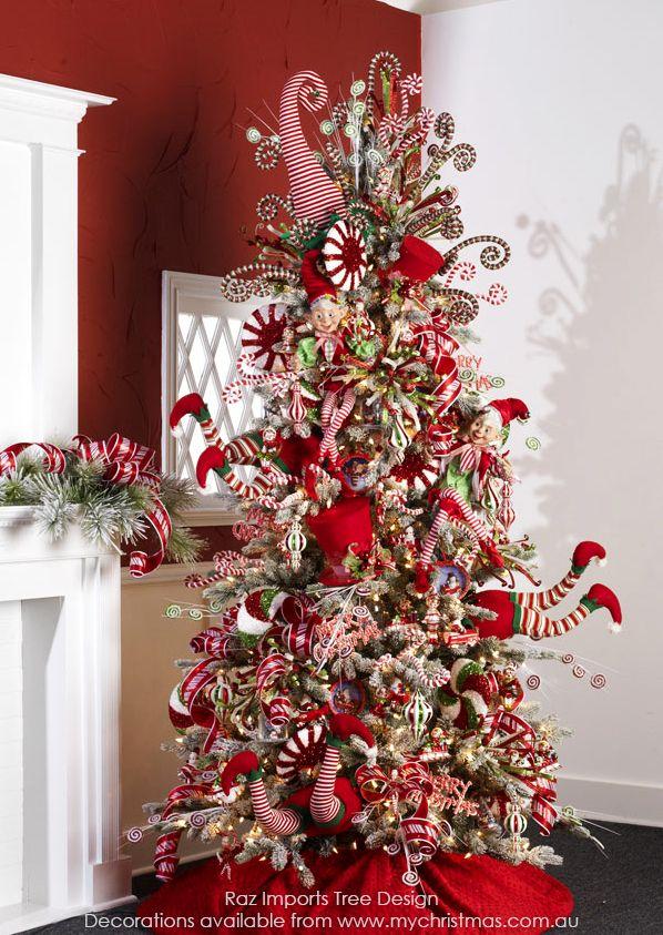 Raz imports christmas tree theme for 2015 peppermint toy - Fotos de arboles de navidad decorados ...