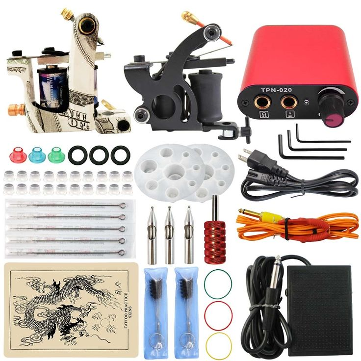 39.68$  Buy here - http://alipv3.shopchina.info/go.php?t=32720529548 - ITATOO Professional Tattoo Kit Cheap Tattoo Machine Set 2 Guns with Red Power Supply Clip Cord Foot Pedal Supply TN1005-10C 39.68$ #buyininternet
