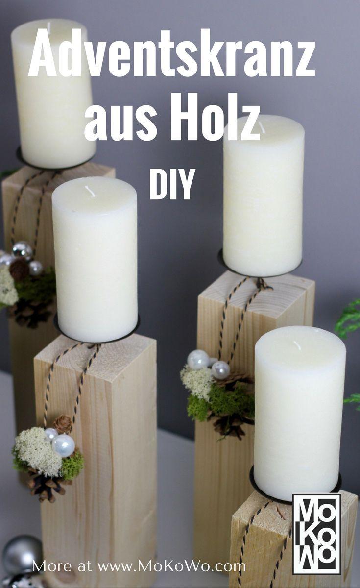 die besten 25 adventskranz aus holz ideen auf pinterest weihnachtsdekoration basteln aus holz. Black Bedroom Furniture Sets. Home Design Ideas