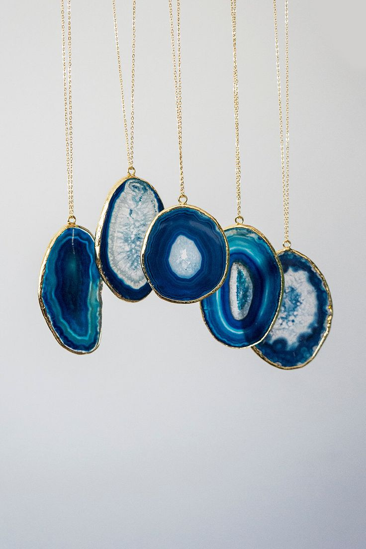 By Oliki on Etsy https://www.etsy.com/listing/207960906/blue-slice-agate-necklace-boho-necklace....x