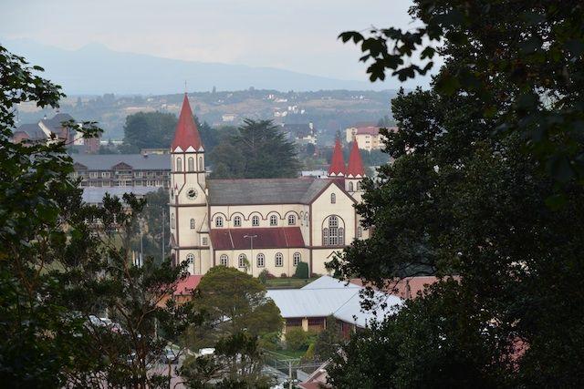 View of Iglesia del Sagrado Corazon de Jesus from Cerro Calvario Puerto Varas in The Lake District Chile