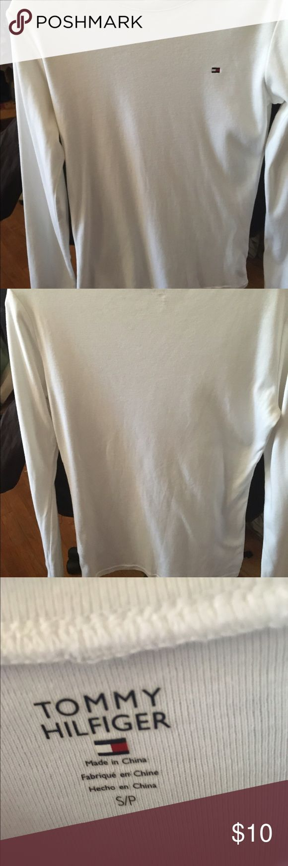 Tommy Hilfiger white long sleeved tshirt - small Basic white tshirt in a size small. Barely worn, machine washable. Long sleeves. From a smoke-free and pet-free home. Ships quickly! Tommy Hilfiger Tops Tees - Long Sleeve
