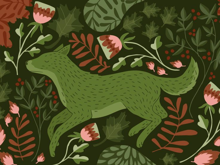 Green wolf illustration by Studio Brun - wild, wildness, pattern, fairy tale, folklore