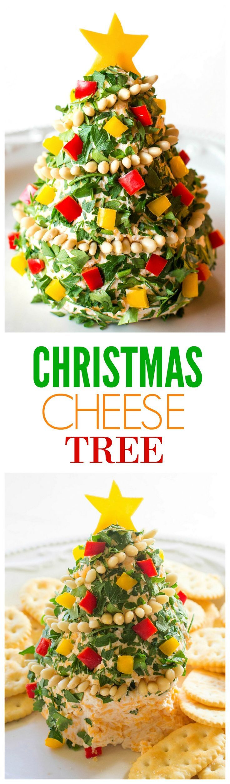 Christmas Cheese Tree - super simple yet impressive cheese ball shaped in a tree! http://the-girl-who-ate-everything.com
