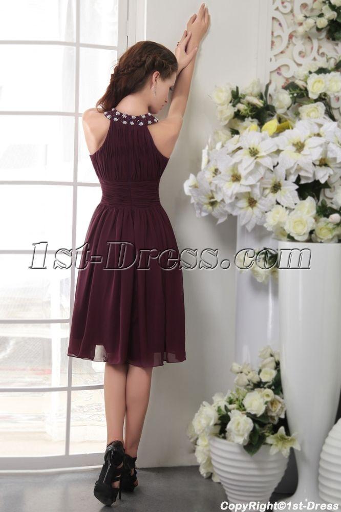 Jewel Cheap Short Grape Purple Bridesmaid Dresses IMG_0107:1st-dress.com