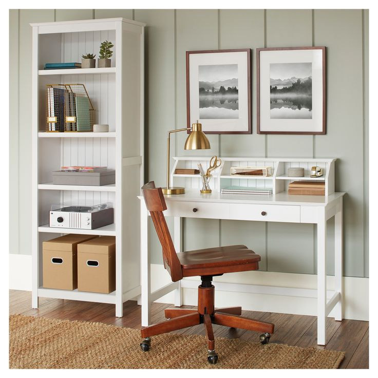 The classic and simple design of the Stafford Desk with Hutch is a sophisticated addition to your home office. Work, study, organize and create while sitting down at this durable work desk. The desk has a drawer that easily fits smaller items like pens, table and notepads while the hutch on top stores letters, bills and files. Whether you have a laptop or desktop, each can fit easily on top of the desk. Pick from a classic java brown or a fresh white transitional finish.